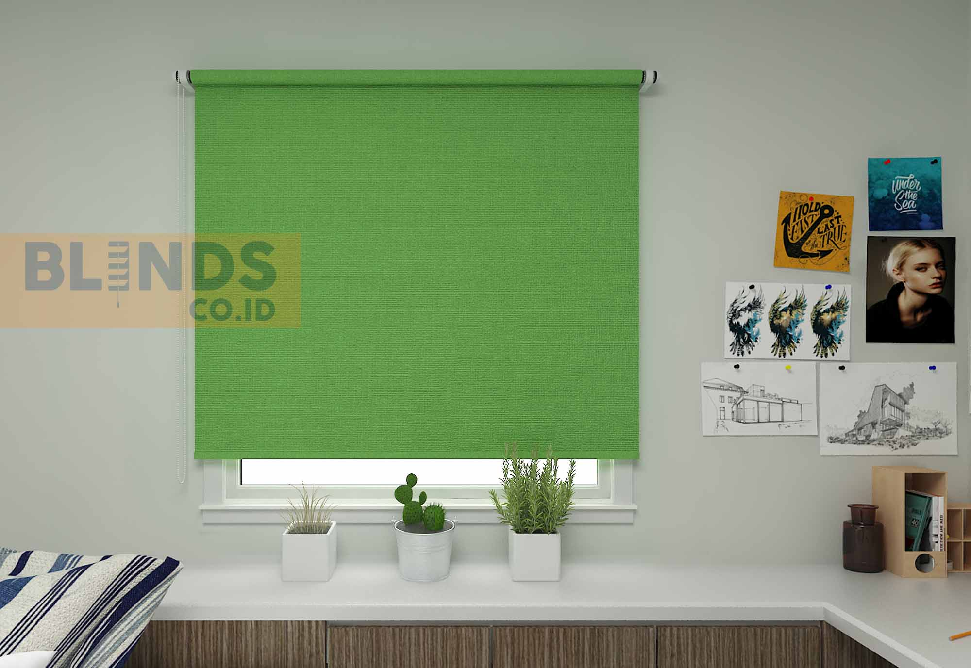 Roller blinds sharp point SP.500-7 GREEN + WHITE copy