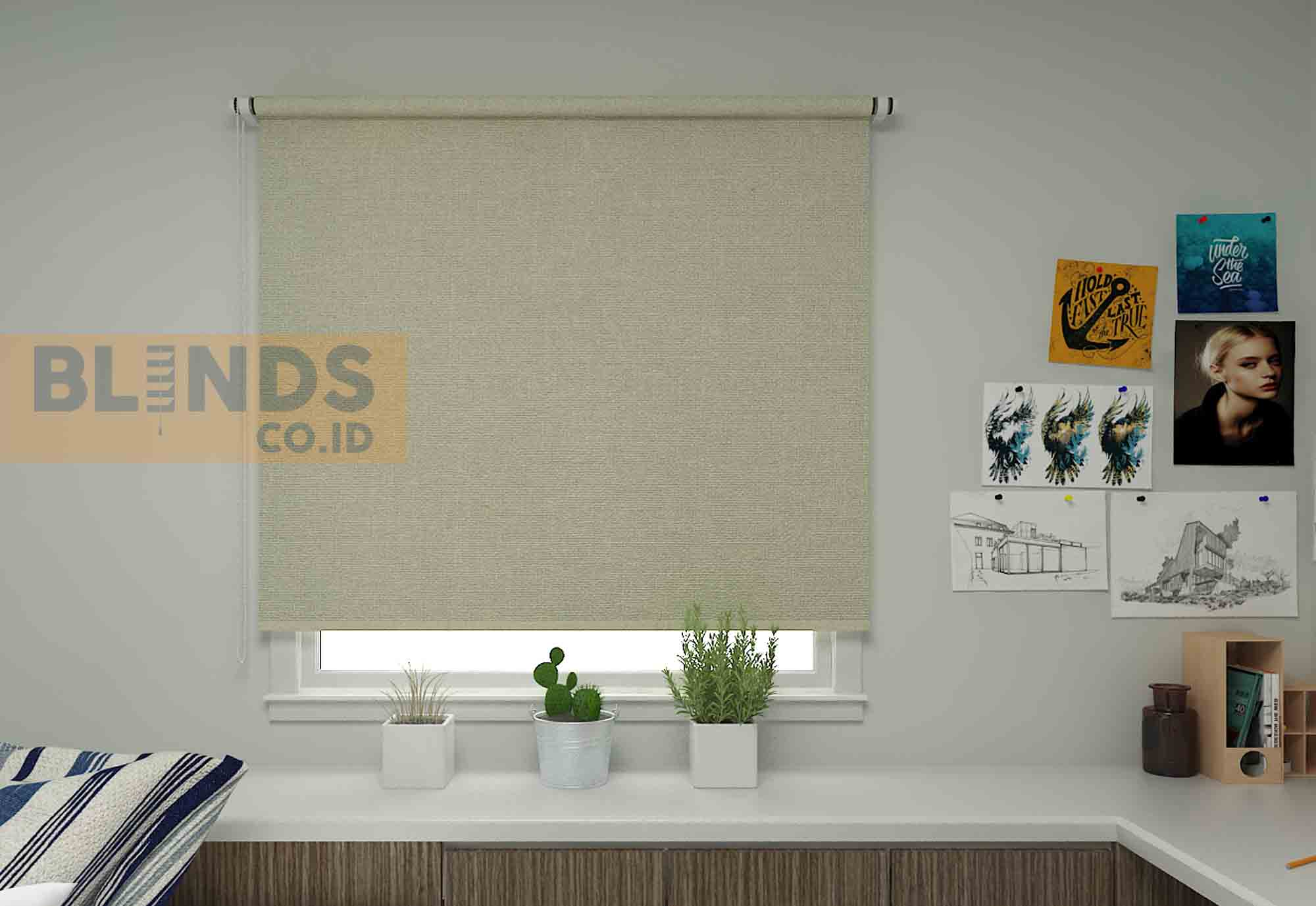 roller blinds sharp point SP.4000-1 BEIGE + WHITE copy