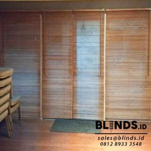 contoh wooden blinds slat 27mm tropical hard wood Sp.03 WB light natural id3988