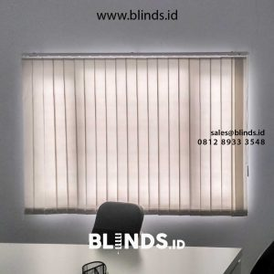 contoh vertical blinds bahan dimout grey dari Sharp Point id4561